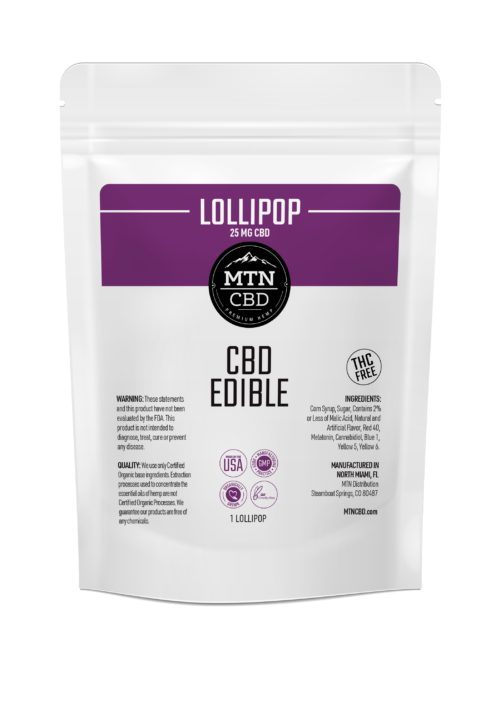 CBD Edible – 25mg CBD Isolate – 3mg Organic Melatonin – Infused Lollipop